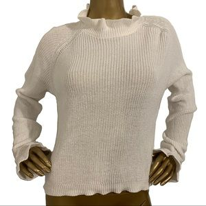 H&M Divided Ivory Ruffle Neck Crop Sweater M